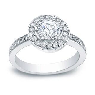 Auriya Platinum 2/5ct TDW Round Diamond Halo Engagement Ring