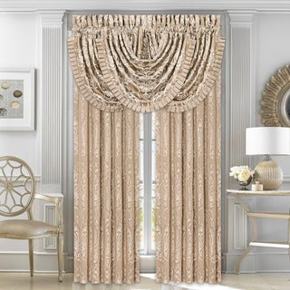 Five Queens Court Maureen Tan Lined Woven Curtain Panel Pair with Tiebacks
