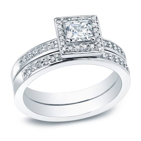 Auriya Platinum 1/2ctw Princess-cut Halo Diamond Engagement Ring Set
