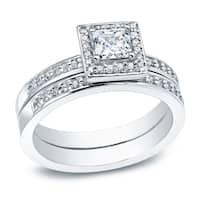 Auriya Platinum 1/2ct TDW Certified Princess-cut Diamond Halo Engagement Ring Set