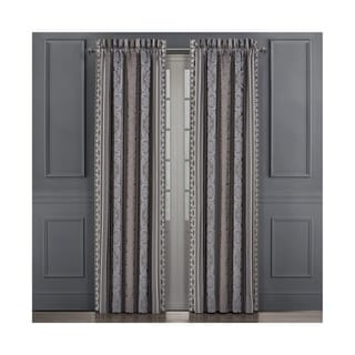 Five Queens Court Mackay Lined Woven Jacquard Curtain Panel Pair with Tiebacks