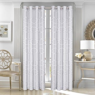Five Queens Court Kennedy Silver 84-inch Lined Window Curtain Panel Pair with Tiebacks
