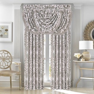 Five Queen Court Ivy Silver Woven Jacquard Lined Curtain Panel Pair with Tiebacks
