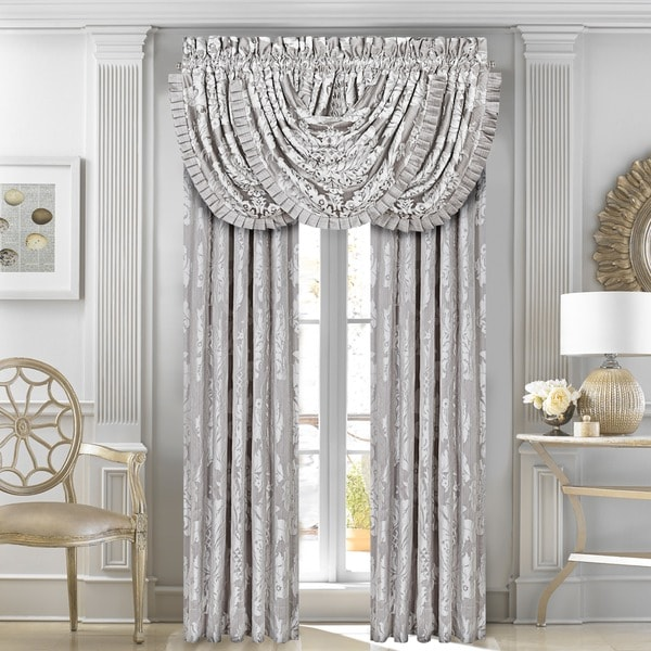Five Queens Court Carly Antique Silver Woven Lined Curtain Panel Pair With Tiebacks
