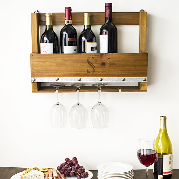 "Personalized Rustic Wall-mounted Wine Rack - 18.75""W x 4.5""D x 13""H"