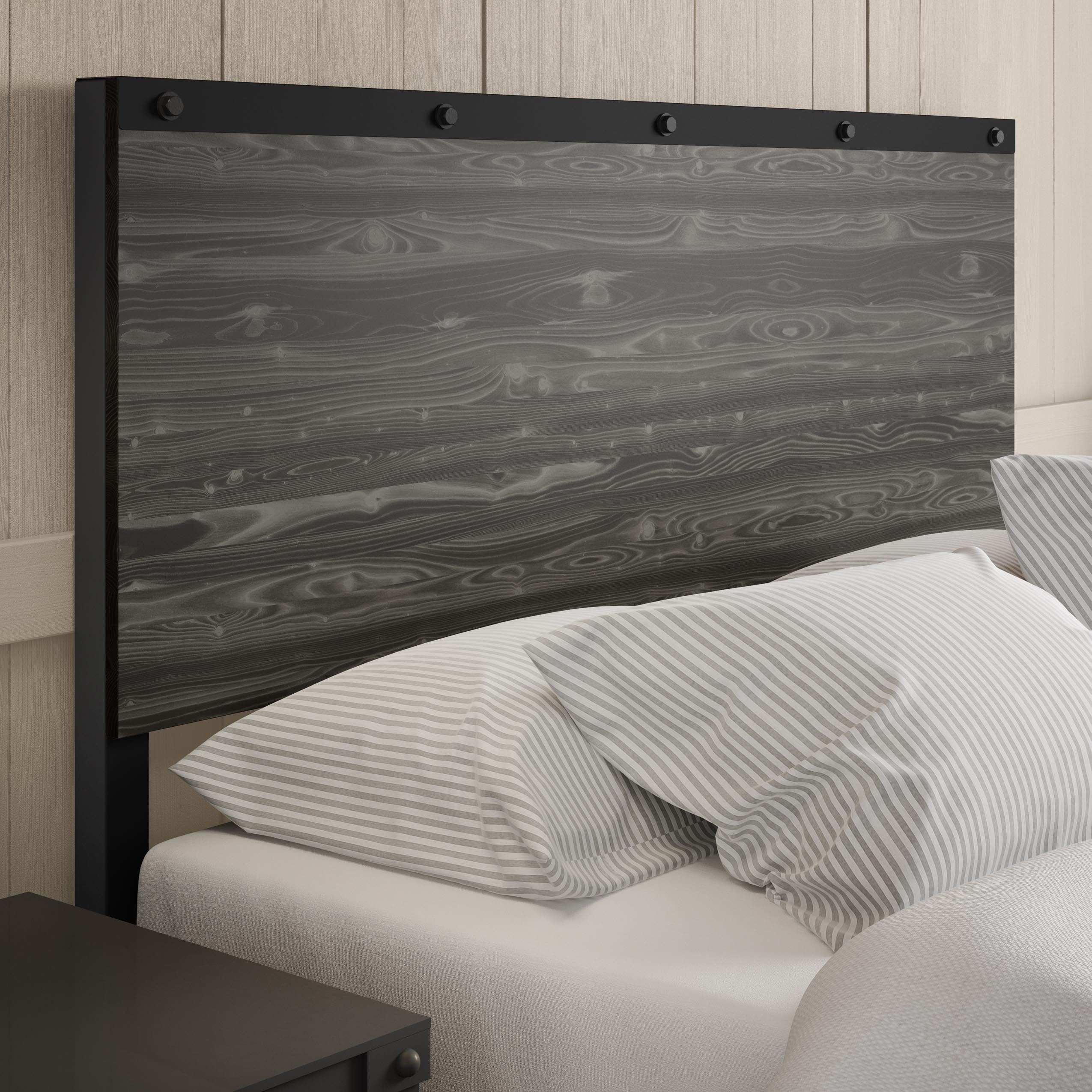 Shop Carbon Loft Teller Full Size Metal Headboard With Wood