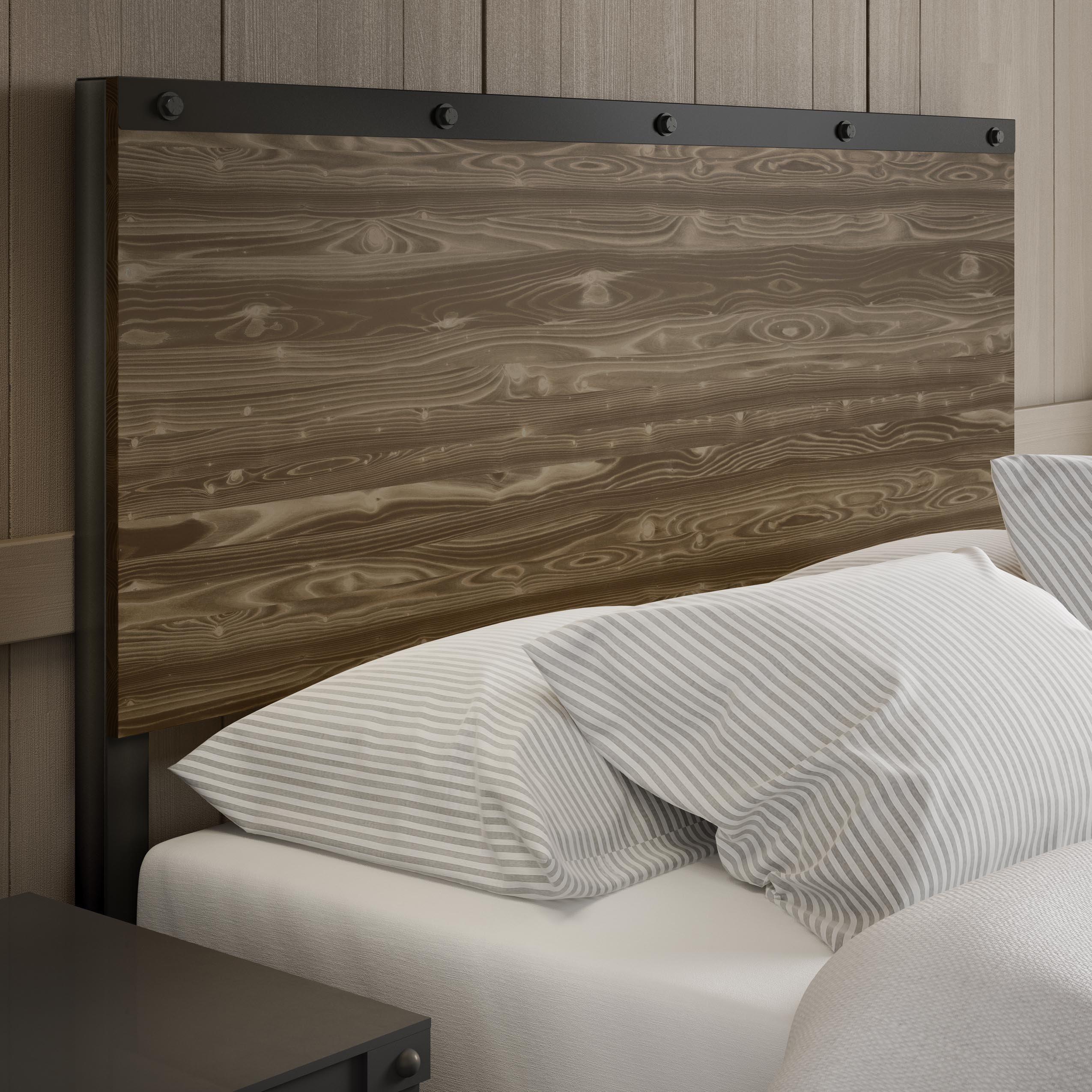 Amisco Winkler Full Size Metal Headboard with Wood (Semi-...
