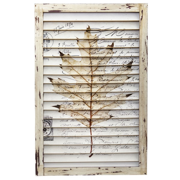 Nearly Natural Maple Leaf Window Shutter Wall Decor