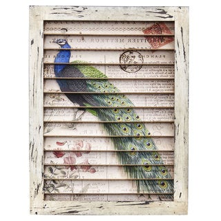 Nearly Natural Peacock Wood Metal Window Shutter Wall Decor