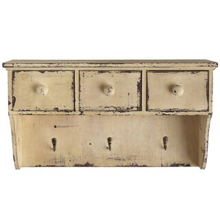 Nearly Natural Distressed Beige Wood Shelf With Drawers and Hooks