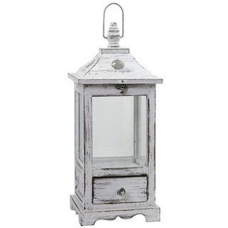 Nearly Natural Distressed White Wood and Glass Lantern With Drawer