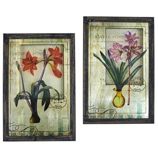 Nearly Natural Framed French Floral Art Prints (Set of 2)