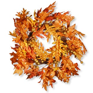 Orange Fabric 24-inch Maple Leaf and Berry Wreath