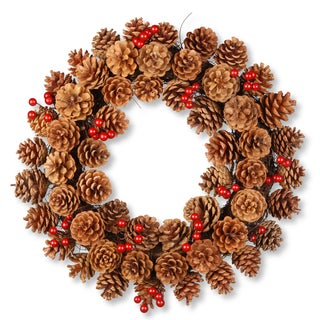 National Tree Company Rattan 20-inch Pinecone Wreath