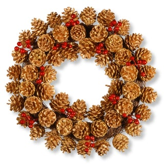 Brown Rattan 20-inch Glittered Pinecone Wreath