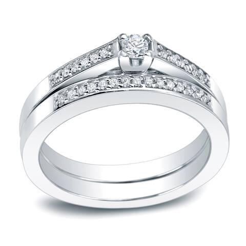 Auriya Platinum 1/4ctw Round Diamond Engagement Ring Set