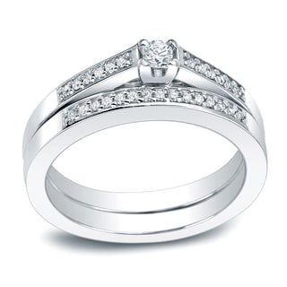 Auriya Platinum 1/4ct TDW Round Diamond Bridal Ring Set