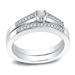 Auriya Platinum 1 4 Carat TW Round Diamond Engagement Ring Set