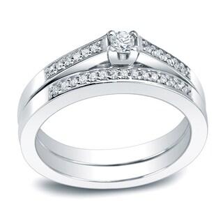 Auriya Platinum 1/4ct TDW Round Diamond Bridal Ring Set