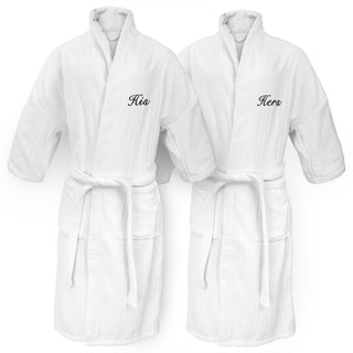 His and Hers Embroidered White Railroad Robe