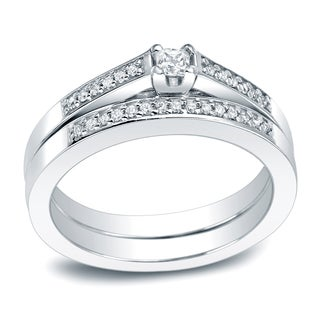 Auriya Platinum 1/4ct TDW Princess Cut Diamond Halo Bridal Ring Set (H-I, I1-I2)
