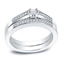 Auriya Platinum 1/4ct TDW Princess-Cut Diamond Engagement Ring Set