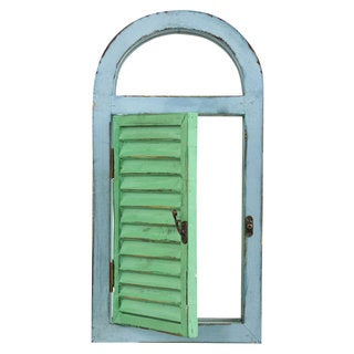 Nearly Natural Decorative Wood Vintage Window Shutter and Mirror