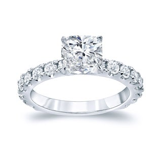 Auriya 14k Gold 2 1/2ct TDW Certified Cushion-Cut Diamond Engagement Ring