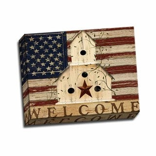 Picture It On Canvas 'Americana Welcome' Multicolored Wrapped Canvas Artwork
