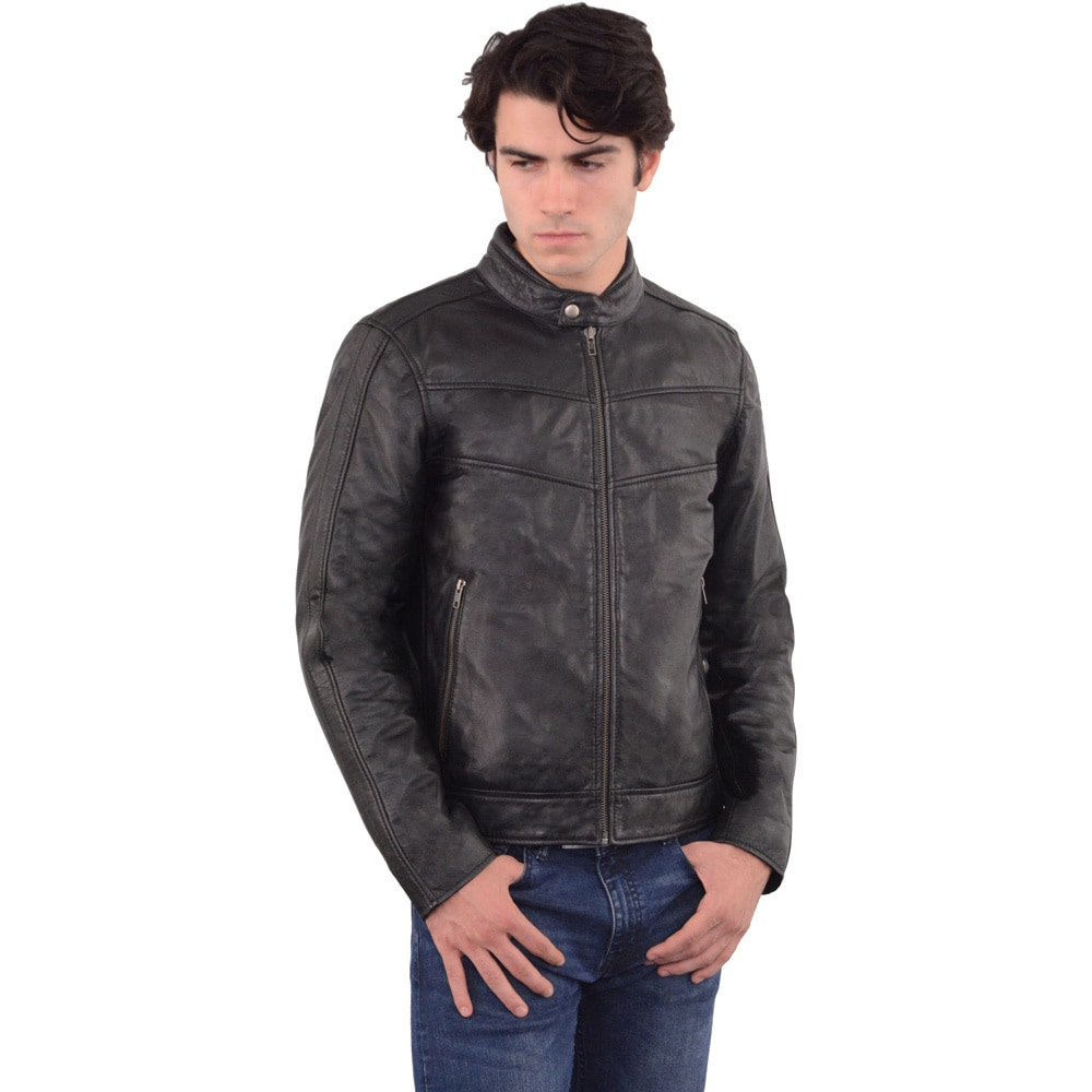Men S Stand Up Collar Leather Jacket Ebay