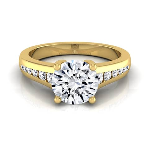 14k Yellow Gold 5/8ct TDW White Diamond Channel Engagement Ring