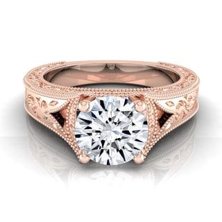 14k Rose Gold 1/2ctw TDW White Diamond Millgrain Finish Engagement Ring (H-I, VS1-VS2)