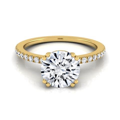 14k Yellow Gold 5/8ct TDW White Diamond Classic Petite Split Prong Engagement Ring