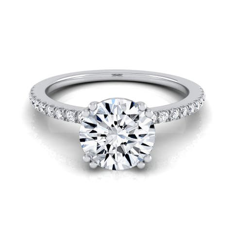 14k White Gold 5/8ct TDW White Diamond Classic Petite Split Prong Engagement Ring