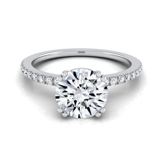14k White Gold 5/8ct TDW White Diamond Classic Petite Split Prong Engagement Ring
