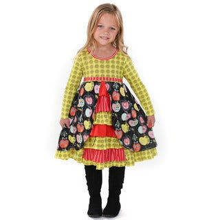 Jelly the Pug Girls' Hannah Multicolor Cotton Knit Dress