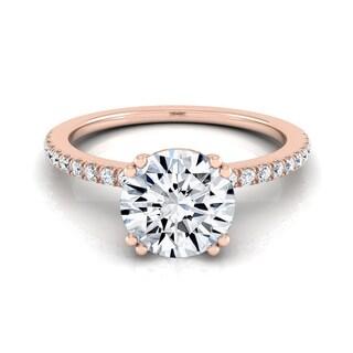 14k Rose Gold 5/8cw TDW White Diamond Classic Petite Split Prong Engagement Ring (H-I, VS1-VS2)