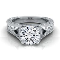14k White Gold 1/2ctw TDW White Diamond Millgrain Engagement Ring