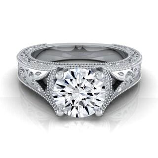 14k White Gold 1/2ctw TDW White Diamond Millgrain Engagement Ring