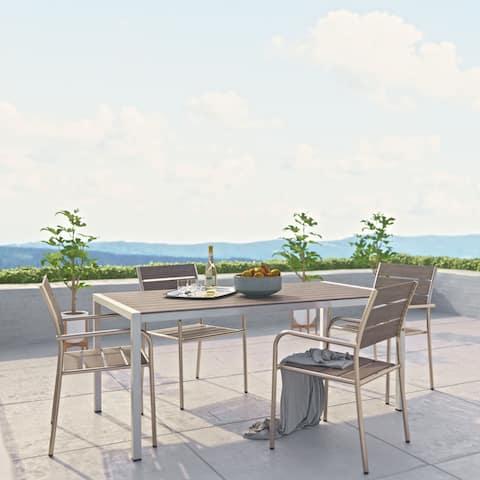 Shore 5 Piece Outdoor Patio Aluminum Dining Set