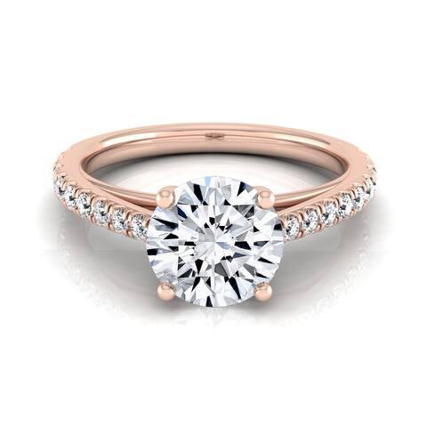 14k Rose Gold 3/4ct TDW White Diamond Classic 4 Prong Engagement Ring