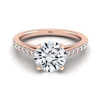 14k Rose Gold 3/4ct TDW White Diamond Classic 4 Prong Engagement Ring (H-I, VS1-VS2)