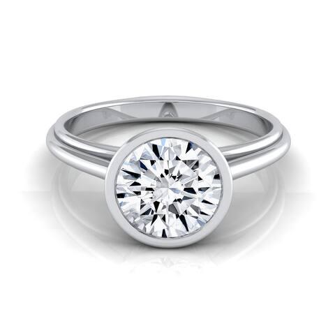 14k White Gold 1/2ct TDW Round Diamond Bezel Solitaire Engagement Ring