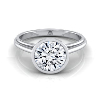 14k White Gold 1/2ct TDW Round Diamond Bezel Solitaire Engagement Ring
