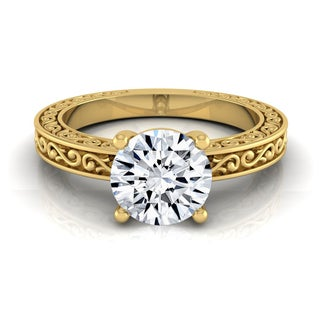 14k Yellow Gold 1/2ct TDW White Diamond Scroll Detail Shank Solitaire Engagement Ring