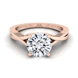 14k Rose Gold 1/2ctw TDW White Diamond Solitaire Cathedral Engagement Ring (H-I, VS1-VS2)