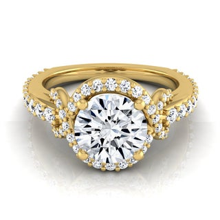 14k Yellow Gold 1 1/10ct TDW White Diamond Love Knot Shank Engagement Ring