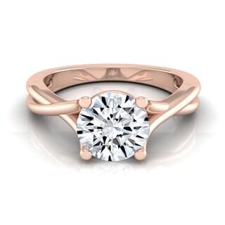 14k Rose Gold 1/2ct TDW White Diamond Trellis Basket Solitaire Engagement Ring (H-I, VS1-VS2)