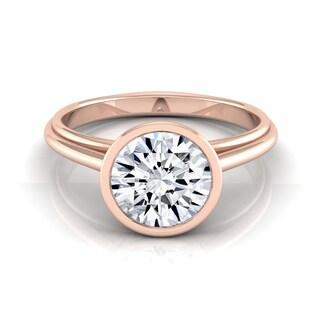 14k Rose Gold 1/2ct TDW Round Diamond Bezel Solitaire Engagement Ring (H-I, VS1-VS2)