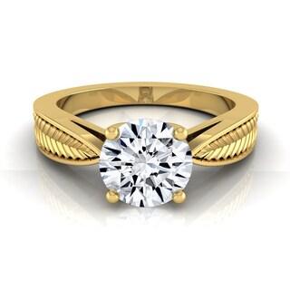 14k Yellow Gold 1/2ct TDW White Diamond Leaf Texture Design Engagement Ring (H-I, VS1-VS2)